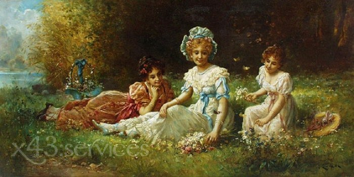 Hans Zatzka - Blumen pfluecken - Picking Flowers